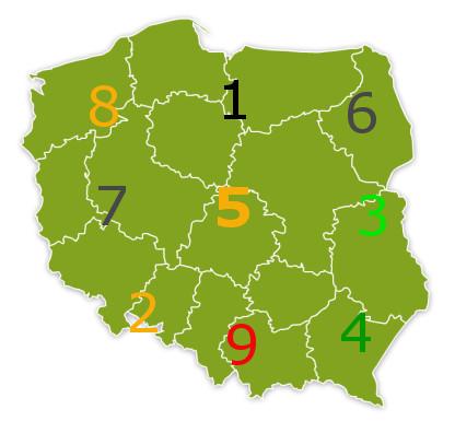 mapa Polska flying star