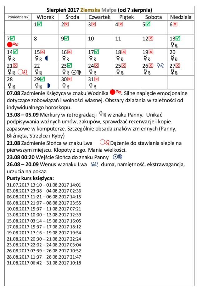 kalendarz 2017 sierpień