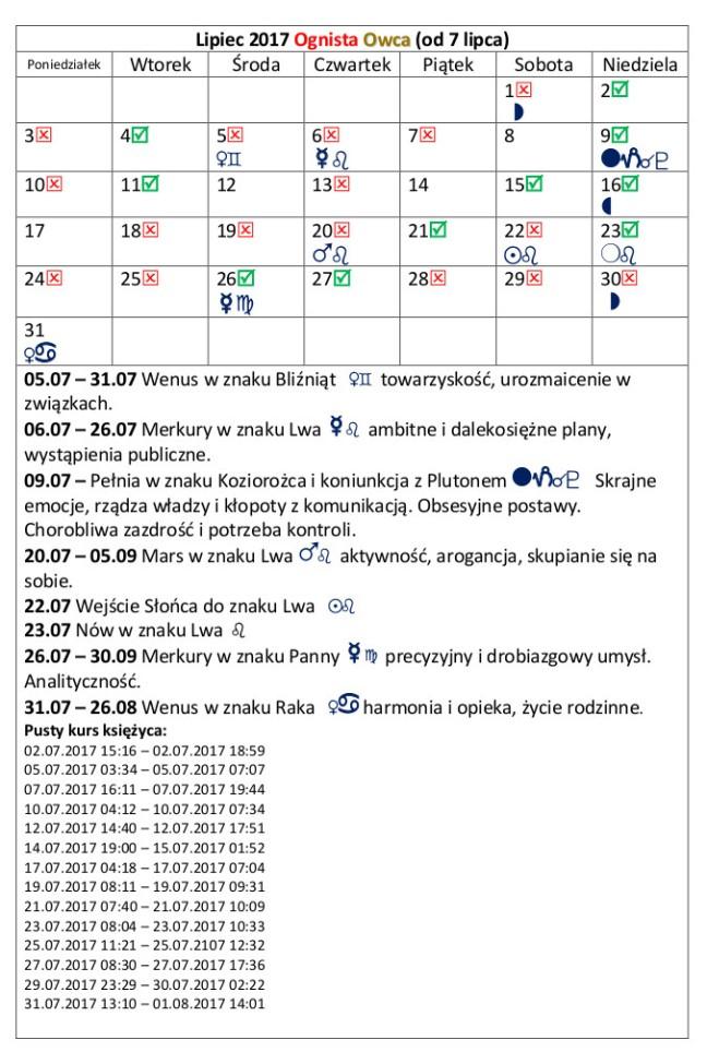 kalendarz lipiec 2017