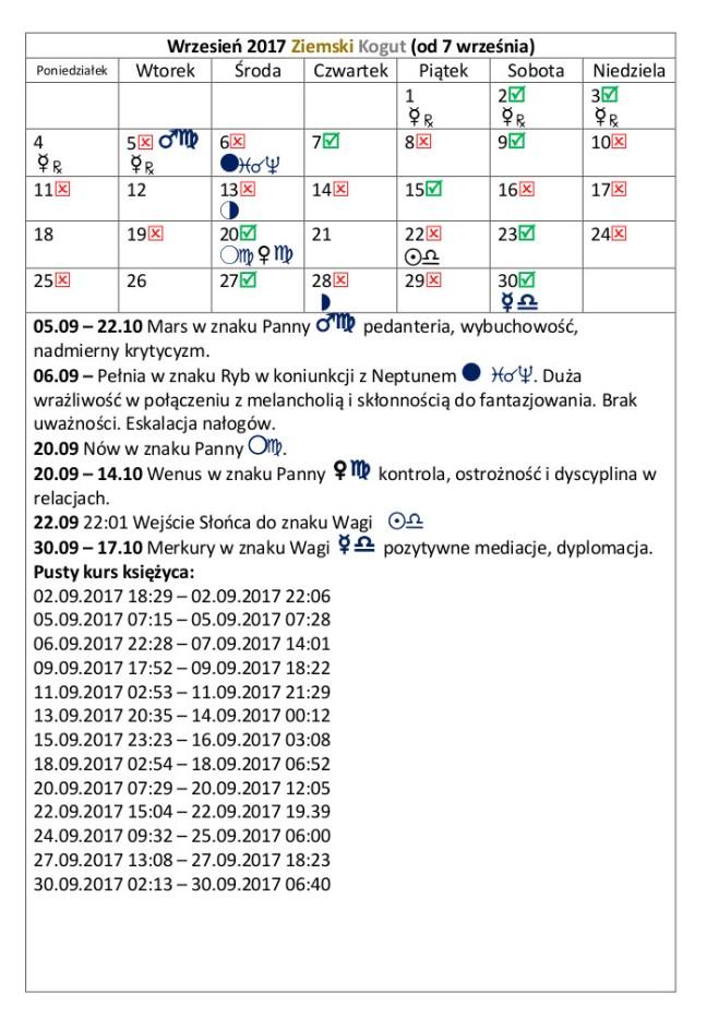 kalendarz 2017 wrzesień