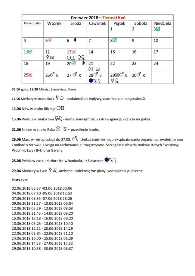 Kalendarz czerwiec 2018