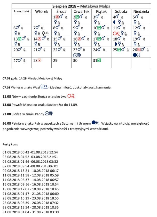 Kalendarz sierpień 2018